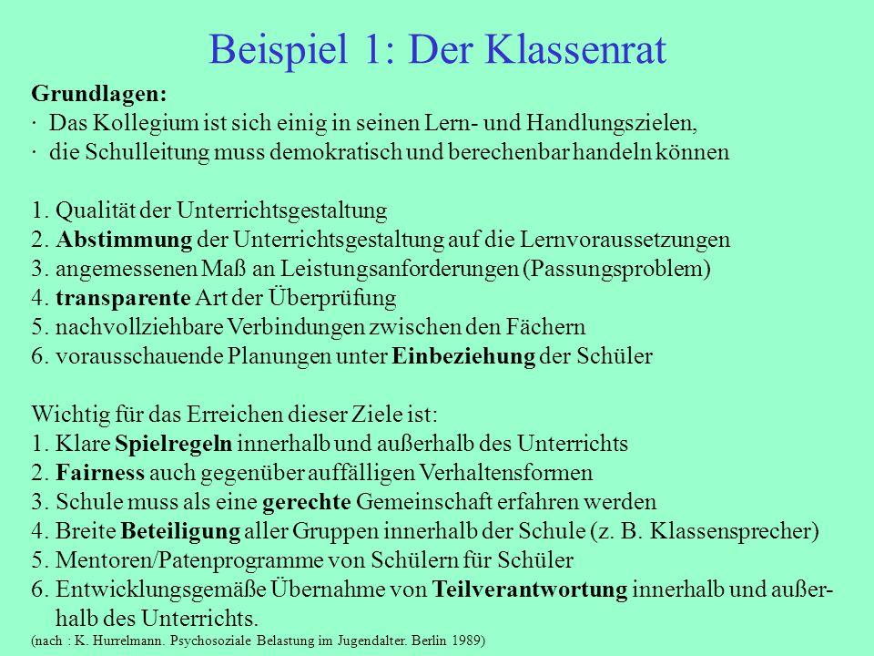 Beispiel 1: Der Klassenrat Grundlagen: · Das Kollegium ist sich einig in seinen Lern- und Handlungszielen, · die Schulleitung muss demokratisch und be