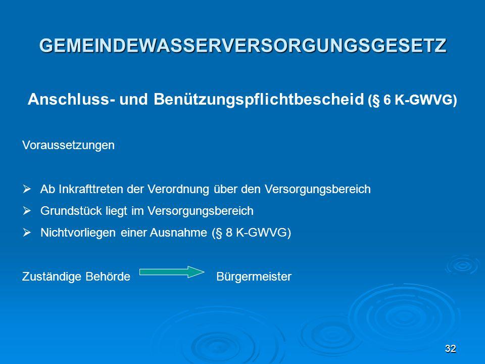 32 GEMEINDEWASSERVERSORGUNGSGESETZ Anschluss- und Benützungspflichtbescheid (§ 6 K-GWVG) Voraussetzungen  Ab Inkrafttreten der Verordnung über den Ve