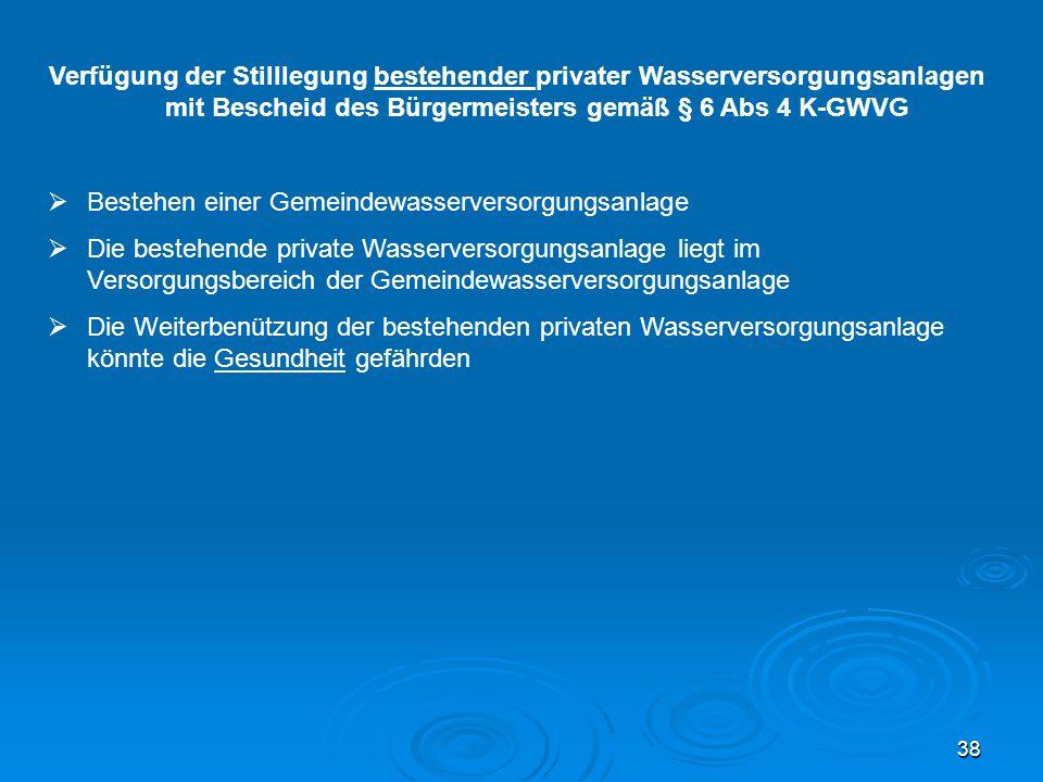 38 Verfügung der Stilllegung bestehender privater Wasserversorgungsanlagen mit Bescheid des Bürgermeisters gemäß § 6 Abs 4 K-GWVG  Bestehen einer Gem