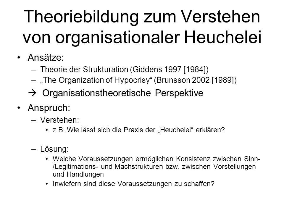 """Theoriebildung zum Verstehen von organisationaler Heuchelei Ansätze: –Theorie der Strukturation (Giddens 1997 [1984]) –""""The Organization of Hypocrisy (Brunsson 2002 [1989])  Organisationstheoretische Perspektive Anspruch: –Verstehen: z.B."""