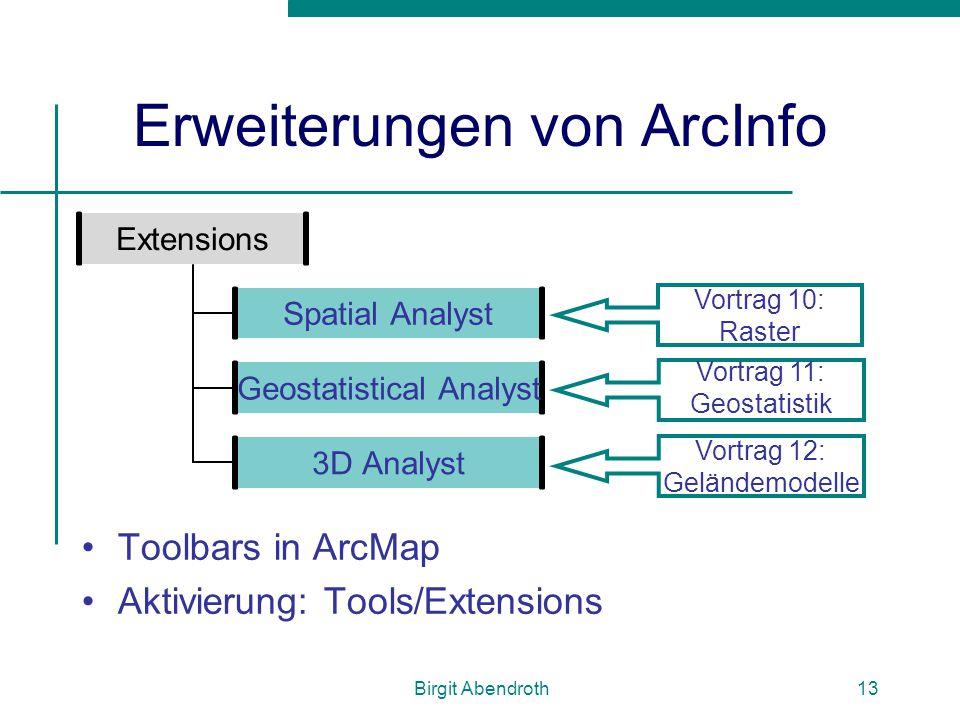 Birgit Abendroth13 Erweiterungen von ArcInfo Toolbars in ArcMap Aktivierung: Tools/Extensions Extensions Spatial Analyst Geostatistical Analyst 3D Ana