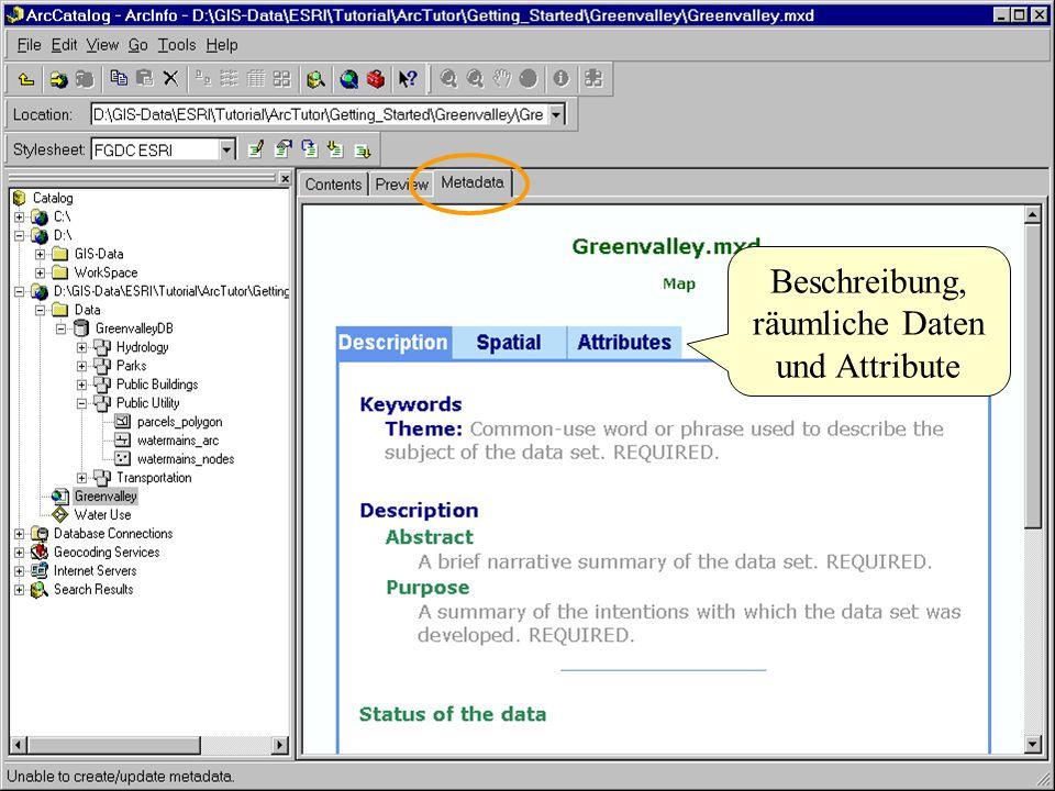 Arc Catalog - Metadata Beschreibung, räumliche Daten und Attribute