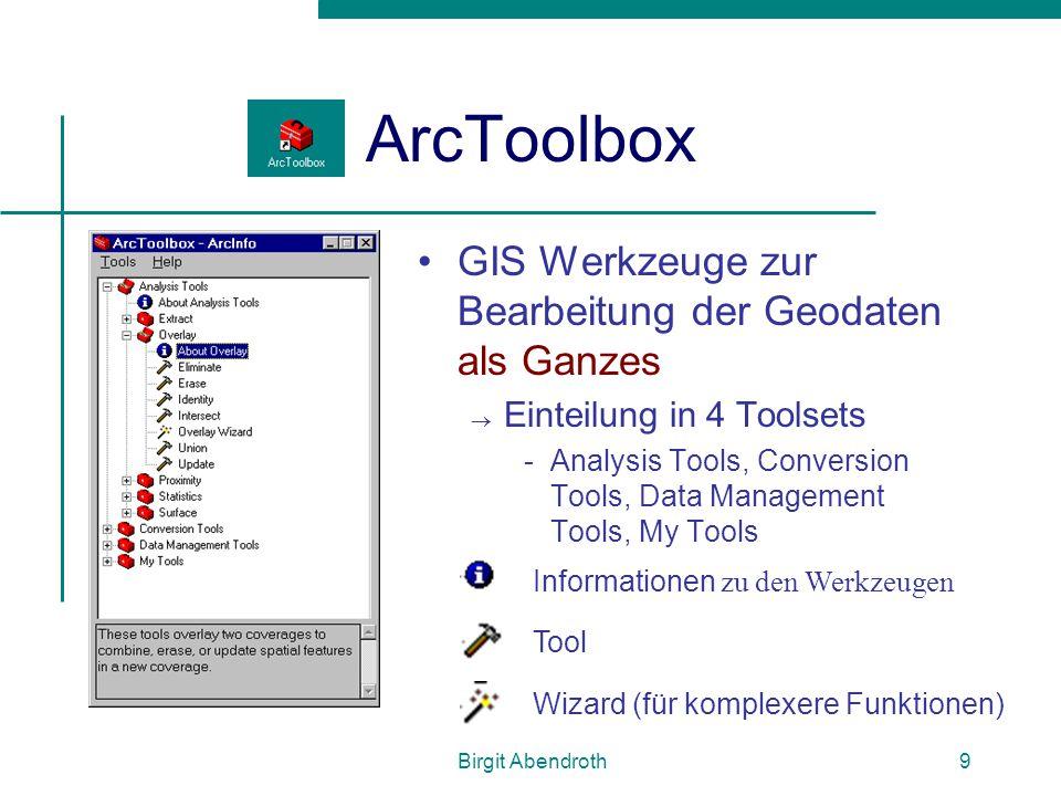 Birgit Abendroth10 Toolsets Analysis Tools  Statistiken, Overlay, Buffer...