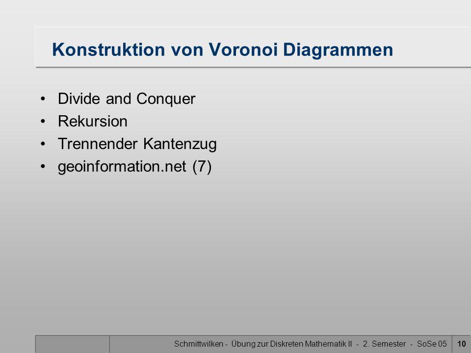 Schmittwilken - Übung zur Diskreten Mathematik II - 2. Semester - SoSe 0510 Konstruktion von Voronoi Diagrammen Divide and Conquer Rekursion Trennende