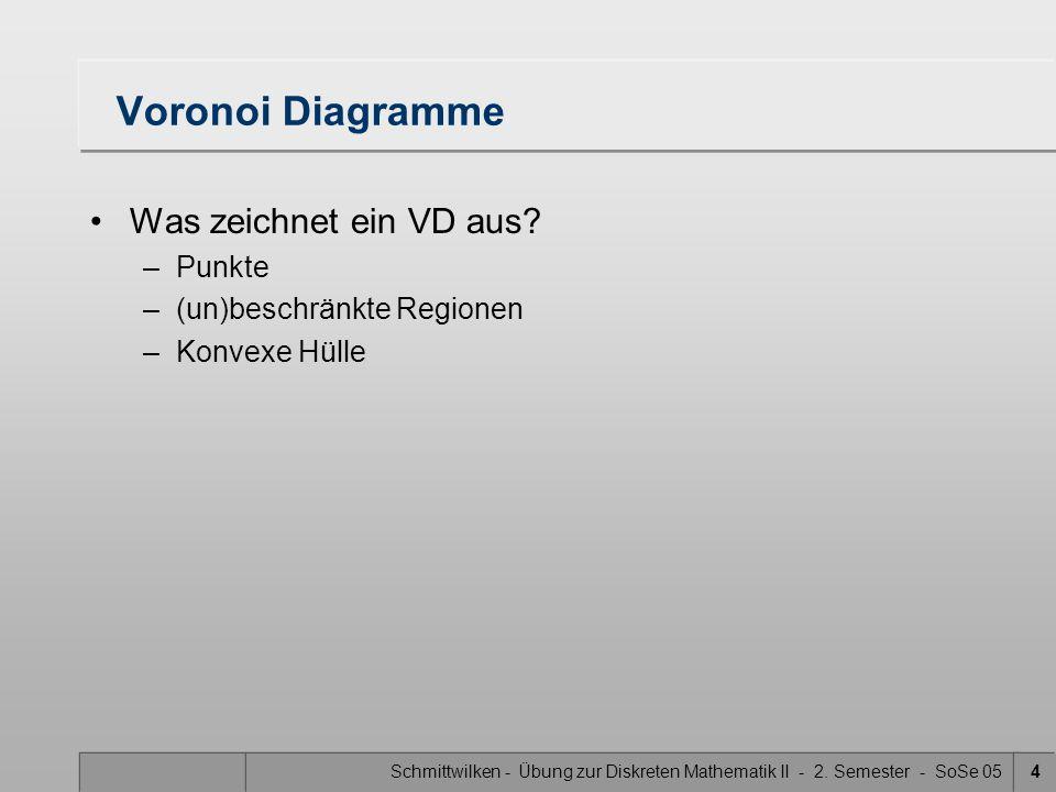 Schmittwilken - Übung zur Diskreten Mathematik II - 2. Semester - SoSe 054 Voronoi Diagramme Was zeichnet ein VD aus? –Punkte –(un)beschränkte Regione