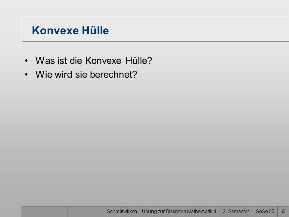Schmittwilken - Übung zur Diskreten Mathematik II - 2. Semester - SoSe 055 Konvexe Hülle Was ist die Konvexe Hülle? Wie wird sie berechnet?