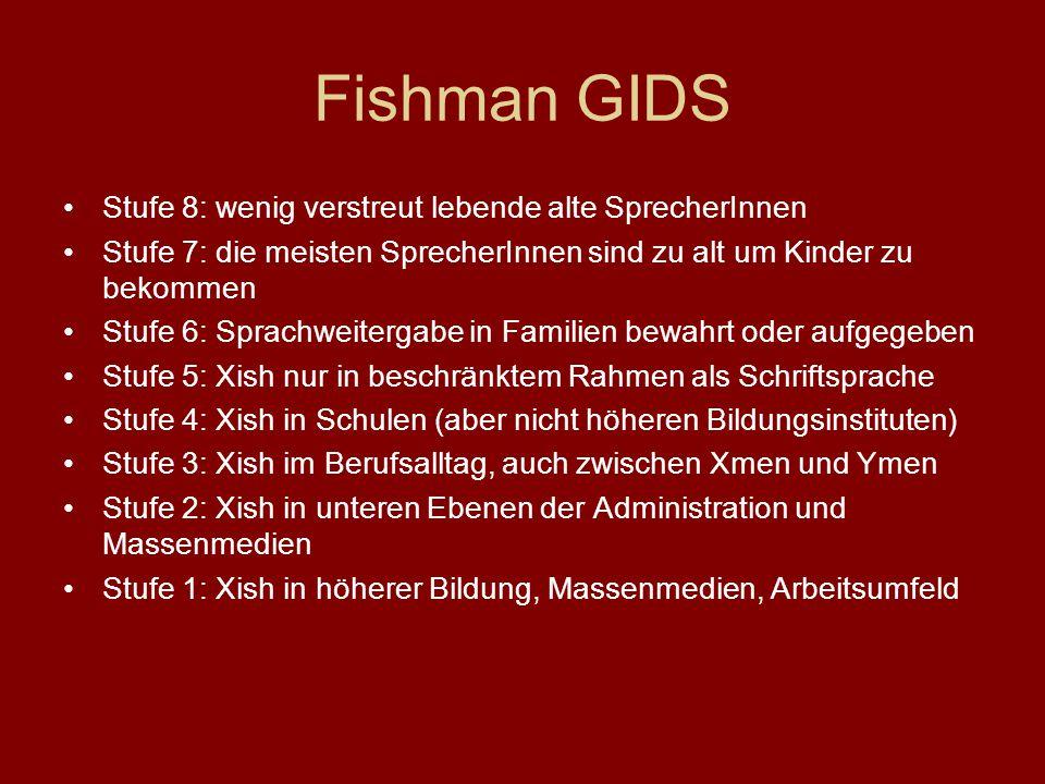 Fishman GIDS Stufe 8: wenig verstreut lebende alte SprecherInnen Stufe 7: die meisten SprecherInnen sind zu alt um Kinder zu bekommen Stufe 6: Sprachw
