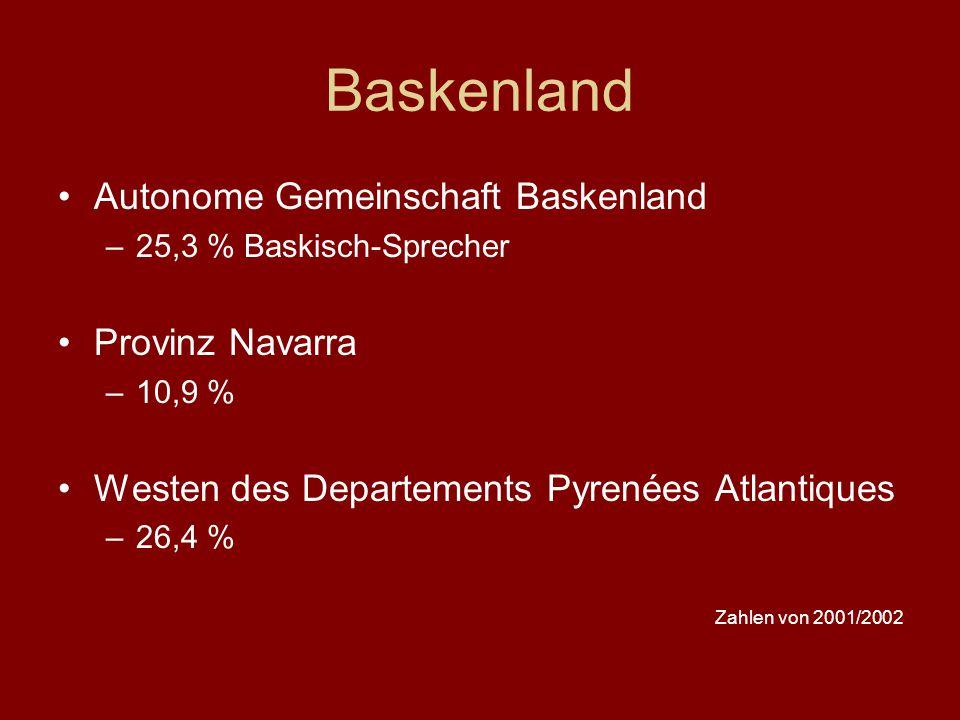 Baskenland Autonome Gemeinschaft Baskenland –25,3 % Baskisch-Sprecher Provinz Navarra –10,9 % Westen des Departements Pyrenées Atlantiques –26,4 % Zah