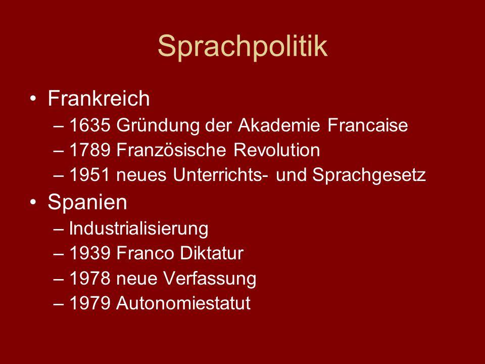 Sprachpolitik Frankreich –1635 Gründung der Akademie Francaise –1789 Französische Revolution –1951 neues Unterrichts- und Sprachgesetz Spanien –Indust