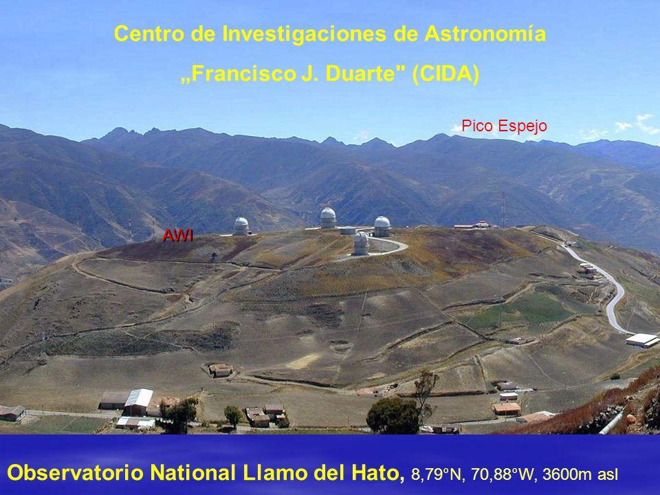 """Observatorio National Llamo del Hato, 8,79°N, 70,88°W, 3600m asl AWI Pico Espejo Centro de Investigaciones de Astronomía """"Francisco J."""