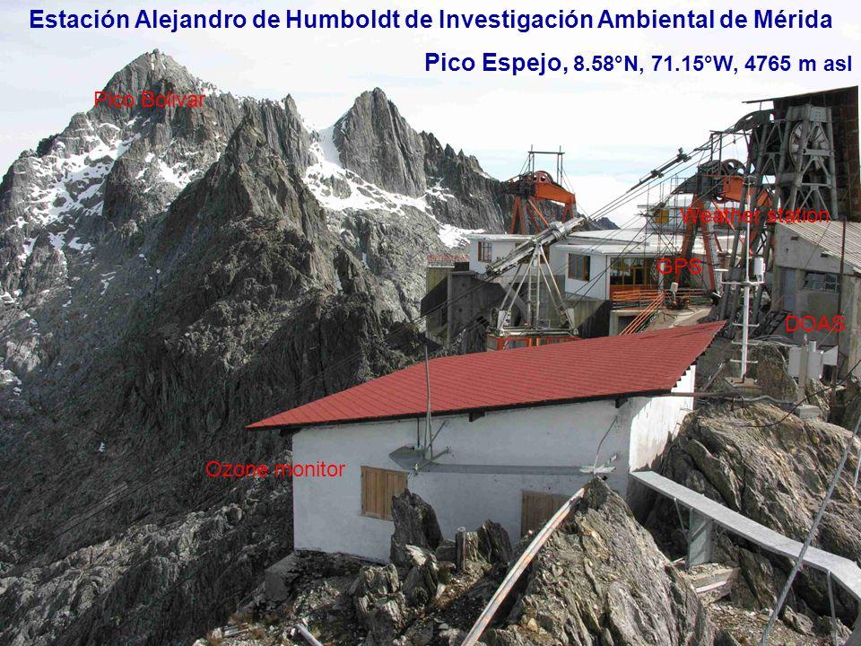 Estación Alejandro de Humboldt de Investigación Ambiental de Mérida Pico Espejo, 8.58°N, 71.15°W, 4765 m asl Pico Bolivar Ozone monitor Weather station GPS DOAS