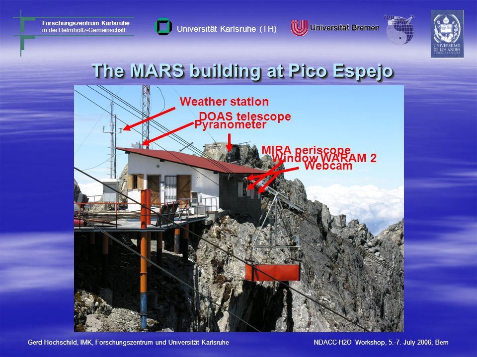 The MARS building at Pico Espejo MIRA periscope Weather station Pyranometer DOAS telescope Webcam Window WARAM 2 Gerd Hochschild, IMK, Forschungszentrum und Universität KarlsruheNDACC-H2O Workshop, 5.-7.
