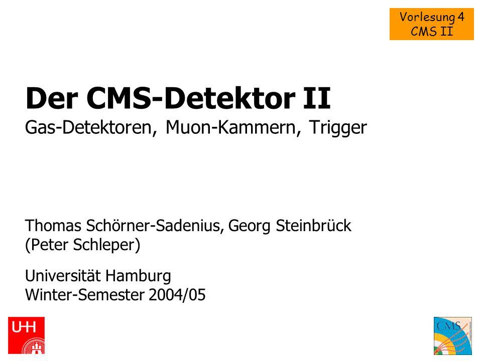 Vorlesung 4 CMS II WS 2004/05Schörner-Sadenius, Steinbrück: CMS2 Übersicht  Allgemein: Gas-betriebene Spurkammern  Prinzipien  Von Ionisationskammern über Proportionalzähler zu Geiger- Zählern  MWPC, DC, TPC, MSGC, etc.