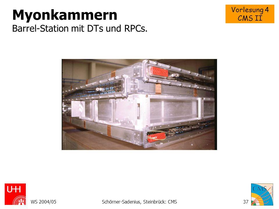 Vorlesung 4 CMS II WS 2004/05Schörner-Sadenius, Steinbrück: CMS38 Myonkammern Cathode Strip Chambers in den Endkappen  2D-Readout in einer Kammer  Kleiner Drahtabstand  schnell (gut in Vorwärtsrichtung)  hohe Präzision der Ortsmessung mit Streifen: Interpolation.