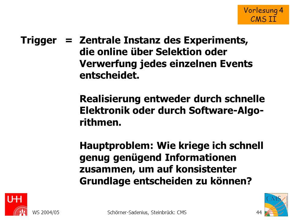 Vorlesung 4 CMS II WS 2004/05Schörner-Sadenius, Steinbrück: CMS44 Trigger = Zentrale Instanz des Experiments, die online über Selektion oder Verwerfun