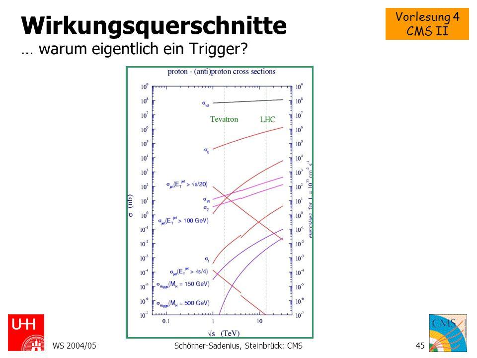 Vorlesung 4 CMS II WS 2004/05Schörner-Sadenius, Steinbrück: CMS45 Wirkungsquerschnitte … warum eigentlich ein Trigger?