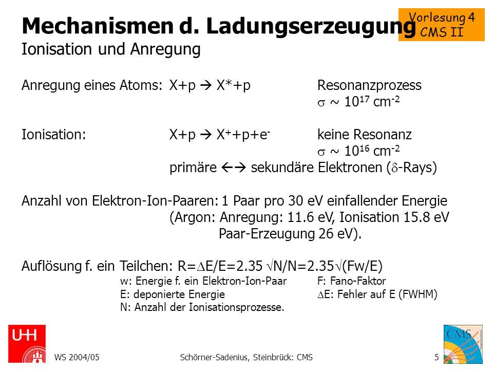 Vorlesung 4 CMS II WS 2004/05Schörner-Sadenius, Steinbrück: CMS5 Mechanismen d. Ladungserzeugung Ionisation und Anregung Anregung eines Atoms: X+p  X