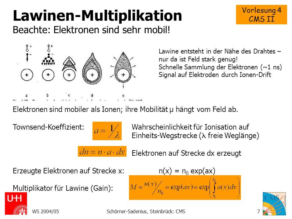 Vorlesung 4 CMS II WS 2004/05Schörner-Sadenius, Steinbrück: CMS7 Lawinen-Multiplikation Beachte: Elektronen sind sehr mobil! Lawine entsteht in der Nä