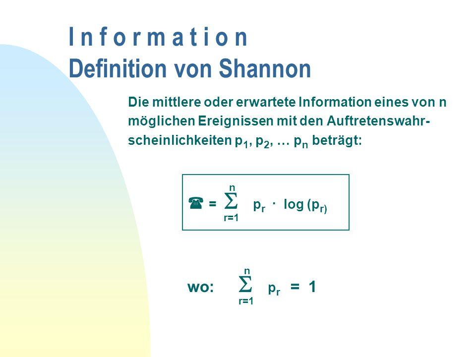 I n f o r m a t i o n Definition von Shannon Die mittlere oder erwartete Information eines von n möglichen Ereignissen mit den Auftretenswahr- scheinlichkeiten p 1, p 2, … p n beträgt: n  =  p r.