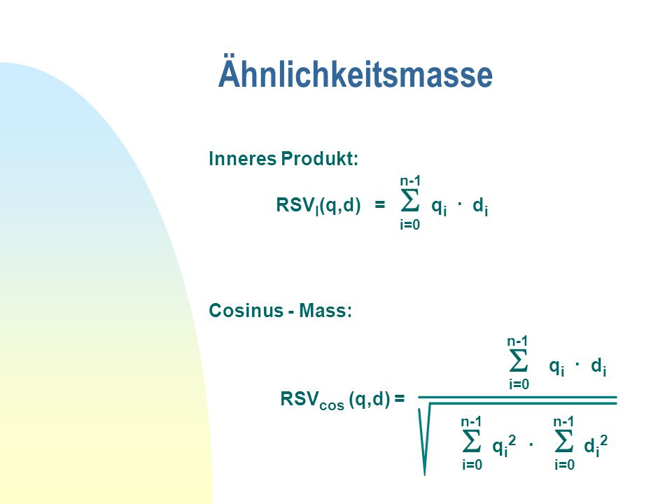 Ähnlichkeitsmasse Inneres Produkt: n-1 RSV I (q,d) =  q i.