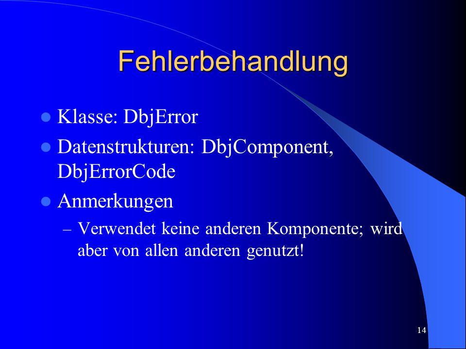 14 Fehlerbehandlung Klasse: DbjError Datenstrukturen: DbjComponent, DbjErrorCode Anmerkungen – Verwendet keine anderen Komponente; wird aber von allen