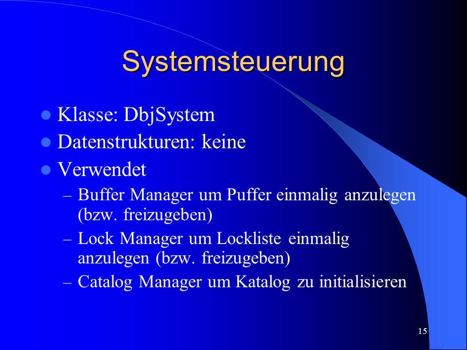 15 Systemsteuerung Klasse: DbjSystem Datenstrukturen: keine Verwendet – Buffer Manager um Puffer einmalig anzulegen (bzw. freizugeben) – Lock Manager