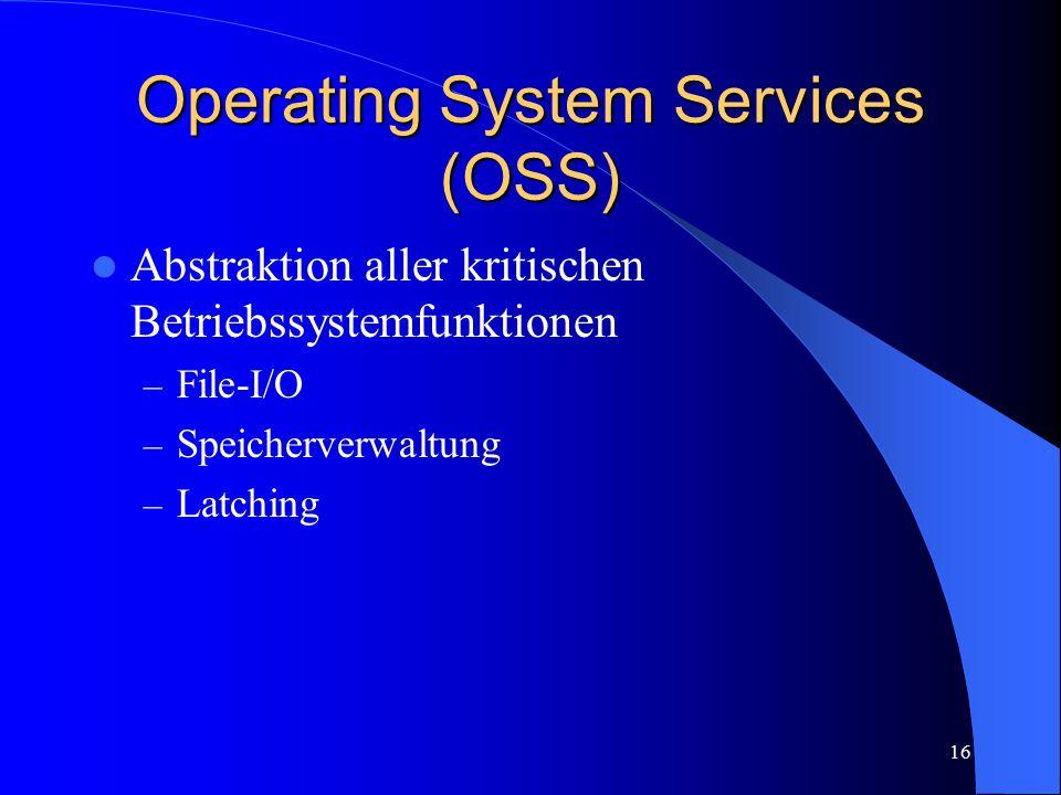 16 Operating System Services (OSS) Abstraktion aller kritischen Betriebssystemfunktionen – File-I/O – Speicherverwaltung – Latching