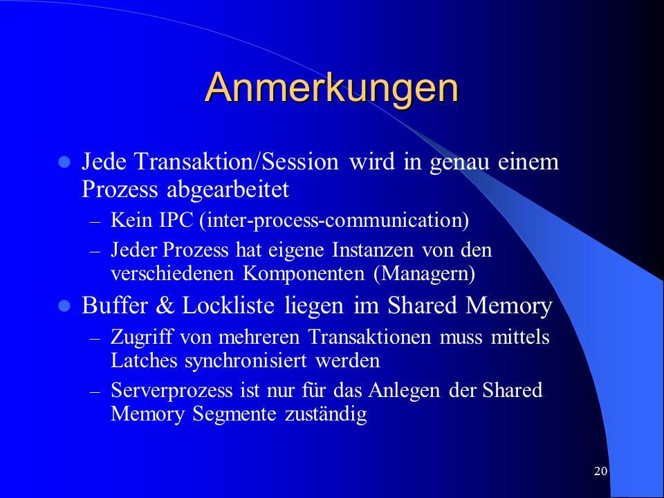 20 Anmerkungen Jede Transaktion/Session wird in genau einem Prozess abgearbeitet – Kein IPC (inter-process-communication) – Jeder Prozess hat eigene I