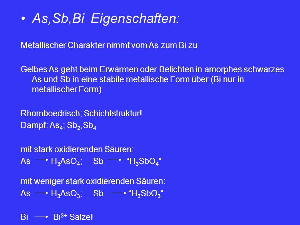 As,Sb,Bi Eigenschaften: Metallischer Charakter nimmt vom As zum Bi zu Gelbes As geht beim Erwärmen oder Belichten in amorphes schwarzes As und Sb in e