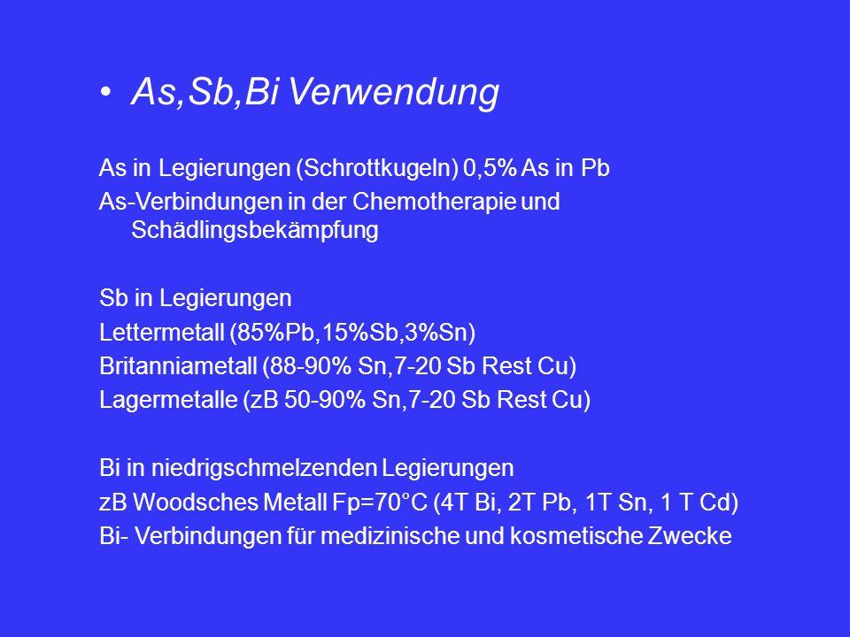 As,Sb,Bi Verwendung As in Legierungen (Schrottkugeln) 0,5% As in Pb As-Verbindungen in der Chemotherapie und Schädlingsbekämpfung Sb in Legierungen Le