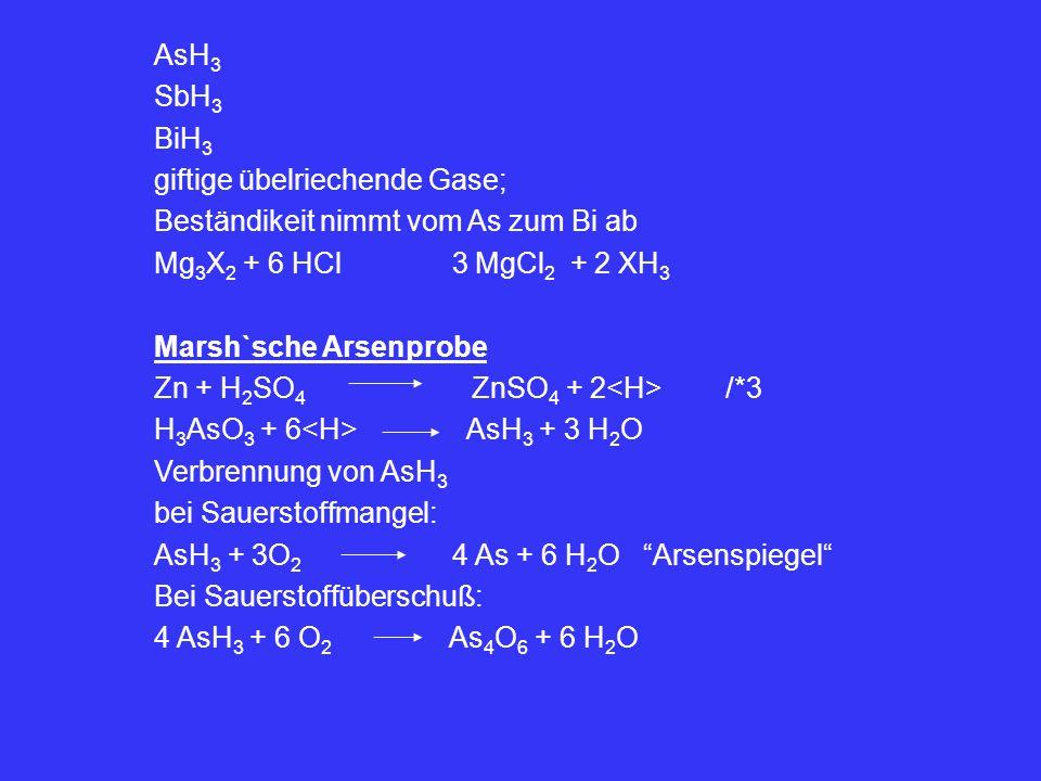 AsH 3 SbH 3 BiH 3 giftige übelriechende Gase; Beständikeit nimmt vom As zum Bi ab Mg 3 X 2 + 6 HCl 3 MgCl 2 + 2 XH 3 Marsh`sche Arsenprobe Zn + H 2 SO