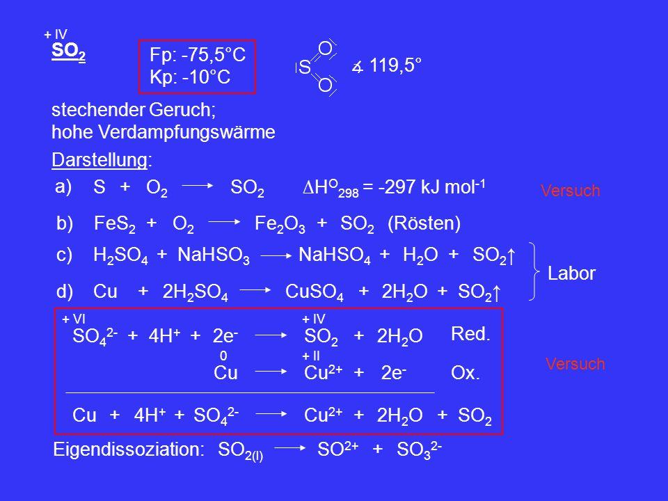 SO 2 + IV Fp: -75,5°C Kp: -10°C ∡ 119,5° stechender Geruch; hohe Verdampfungswärme Darstellung: a) S+O2O2 SO 2 ∆H O 298 = -297 kJ mol -1 b)FeS 2 +O2O2