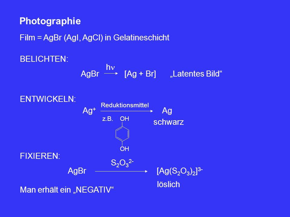 """Photographie Film = AgBr (AgI, AgCl) in Gelatineschicht BELICHTEN: AgBr h [Ag + Br]""""Latentes Bild"""" ENTWICKELN: Ag + Reduktionsmittel z.B. Ag schwarz F"""