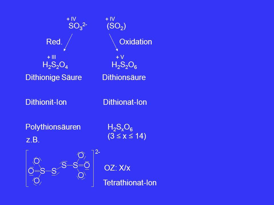 SO 3 2- + IV (SO 2 ) + IV Red. H2S2O4H2S2O4 + III Dithionige Säure H2S2O6H2S2O6 + V Dithionsäure Oxidation Dithionit-IonDithionat-Ion PolythionsäurenH