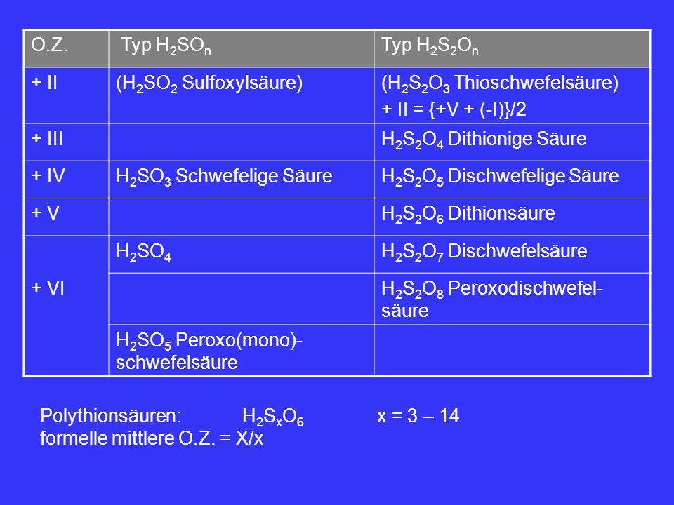 O.Z. Typ H 2 SO n Typ H 2 S 2 O n + II(H 2 SO 2 Sulfoxylsäure)(H 2 S 2 O 3 Thioschwefelsäure) + II = {+V + (-I)}/2 + IIIH 2 S 2 O 4 Dithionige Säure +