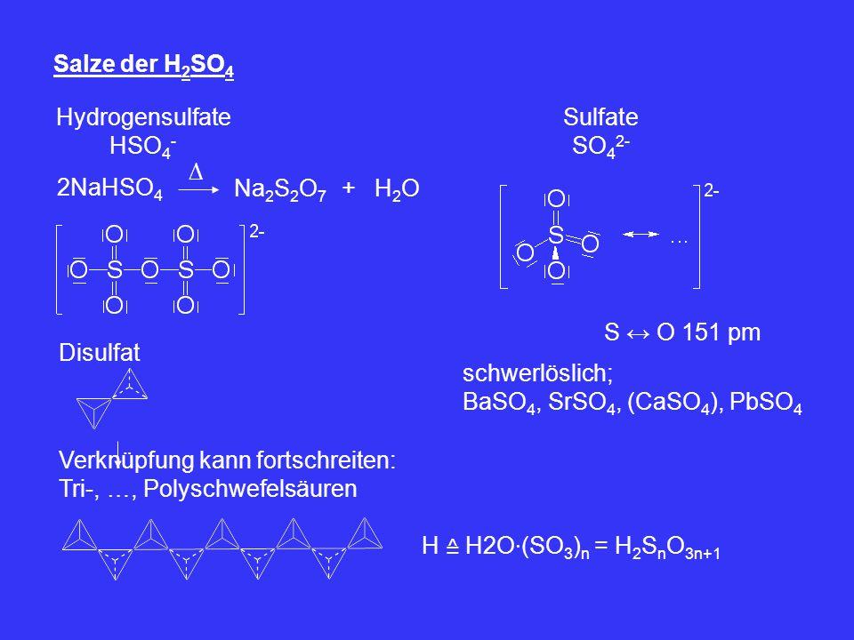 Salze der H 2 SO 4 Hydrogensulfate HSO 4 - 2NaHSO 4 ∆ Na 2 S 2 O 7 +H2OH2O Disulfat Sulfate SO 4 2- S ↔ O 151 pm schwerlöslich; BaSO 4, SrSO 4, (CaSO