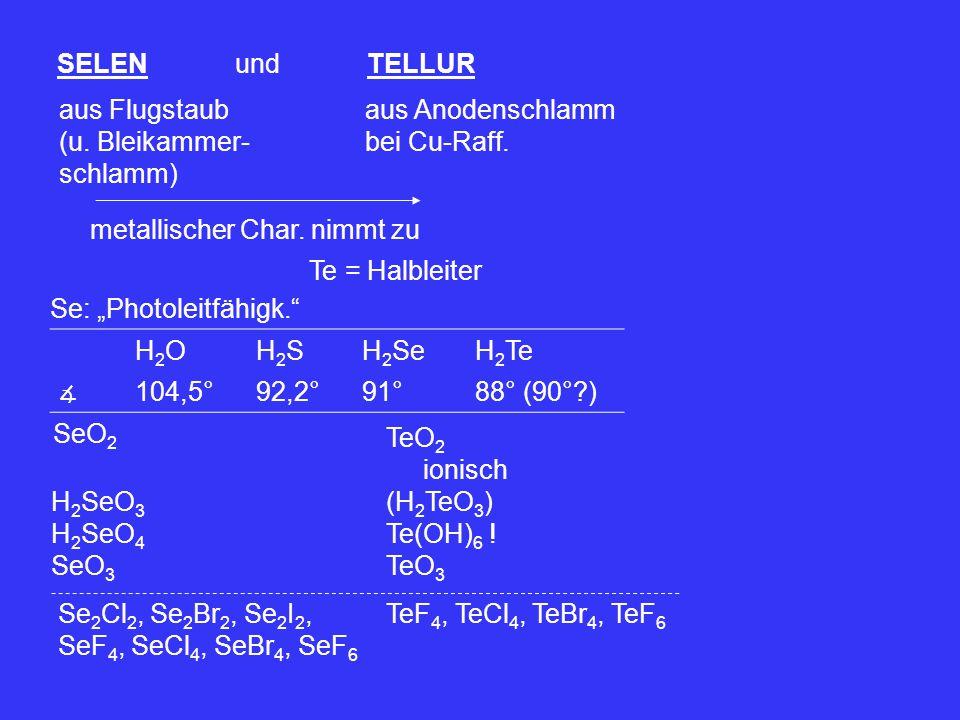 """SELEN und TELLUR aus Flugstaub (u. Bleikammer- schlamm) aus Anodenschlamm bei Cu-Raff. metallischer Char. nimmt zu Te = Halbleiter Se: """"Photoleitfähig"""
