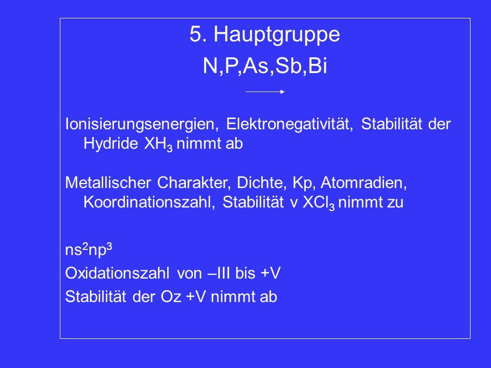 5. Hauptgruppe N,P,As,Sb,Bi Ionisierungsenergien, Elektronegativität, Stabilität der Hydride XH 3 nimmt ab Metallischer Charakter, Dichte, Kp, Atomrad