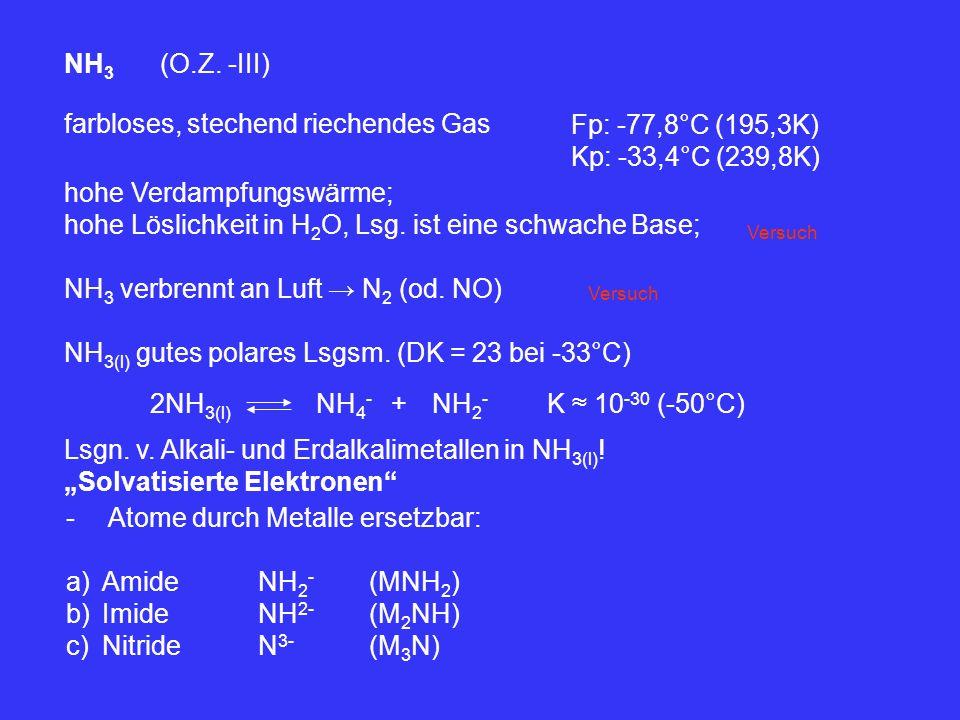 NH 3 (O.Z. -III) farbloses, stechend riechendes Gas Fp: -77,8°C (195,3K) Kp: -33,4°C (239,8K) hohe Verdampfungswärme; hohe Löslichkeit in H 2 O, Lsg.