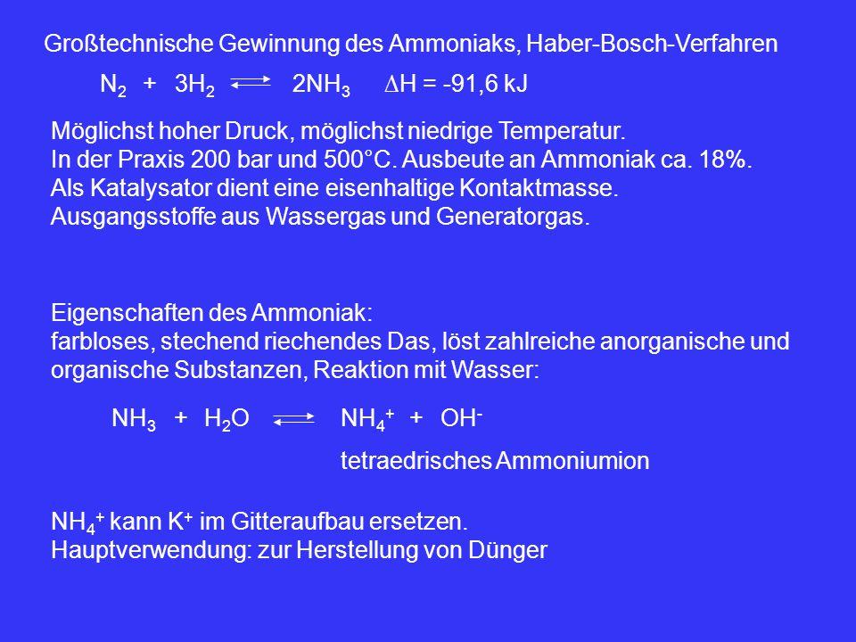 Großtechnische Gewinnung des Ammoniaks, Haber-Bosch-Verfahren 3H 2 +N2N2 2NH 3 ∆H = -91,6 kJ Möglichst hoher Druck, möglichst niedrige Temperatur. In