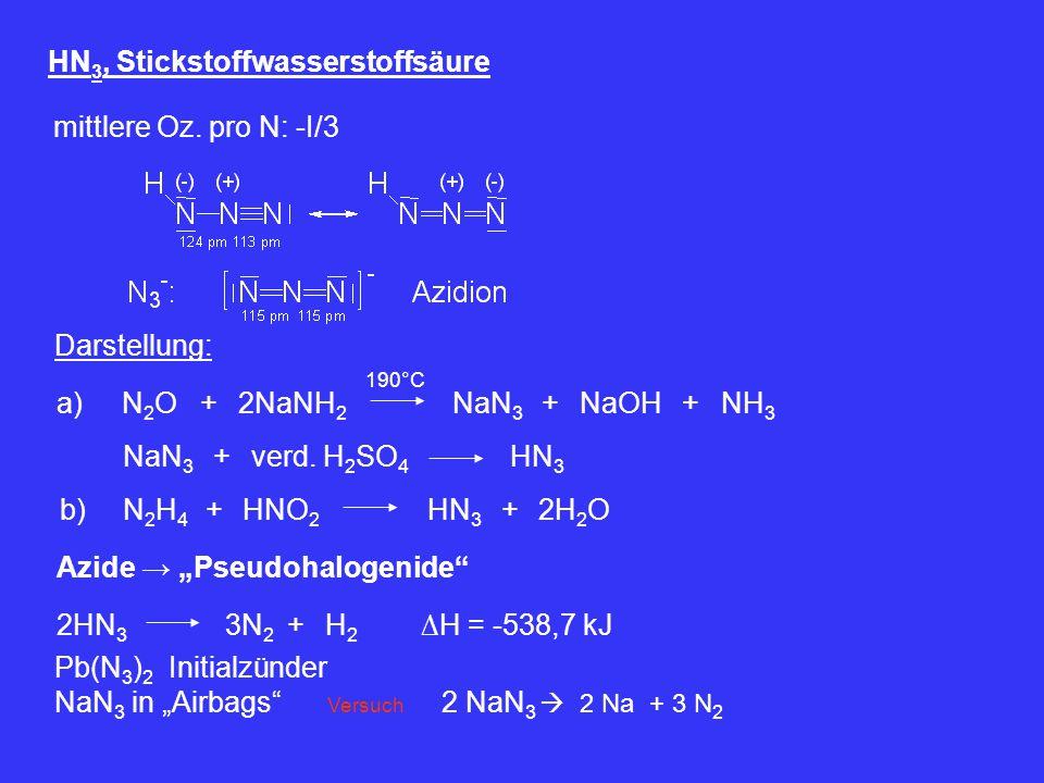 HN 3, Stickstoffwasserstoffsäure mittlere Oz. pro N: -I/3 Darstellung: a)2NaNH 2 +N2ON2O 190°C NaN 3 NaOH+NH 3 + NaN 3 verd. H 2 SO 4 +HN 3 b)N2H4N2H4