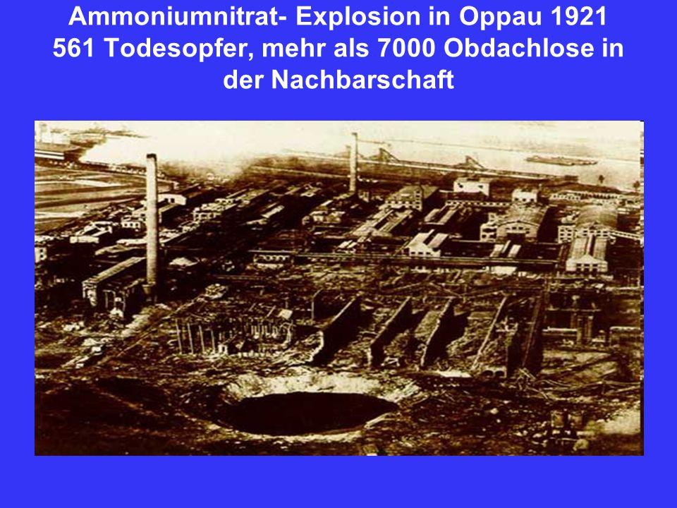 Ammoniumnitrat- Explosion in Oppau 1921 561 Todesopfer, mehr als 7000 Obdachlose in der Nachbarschaft