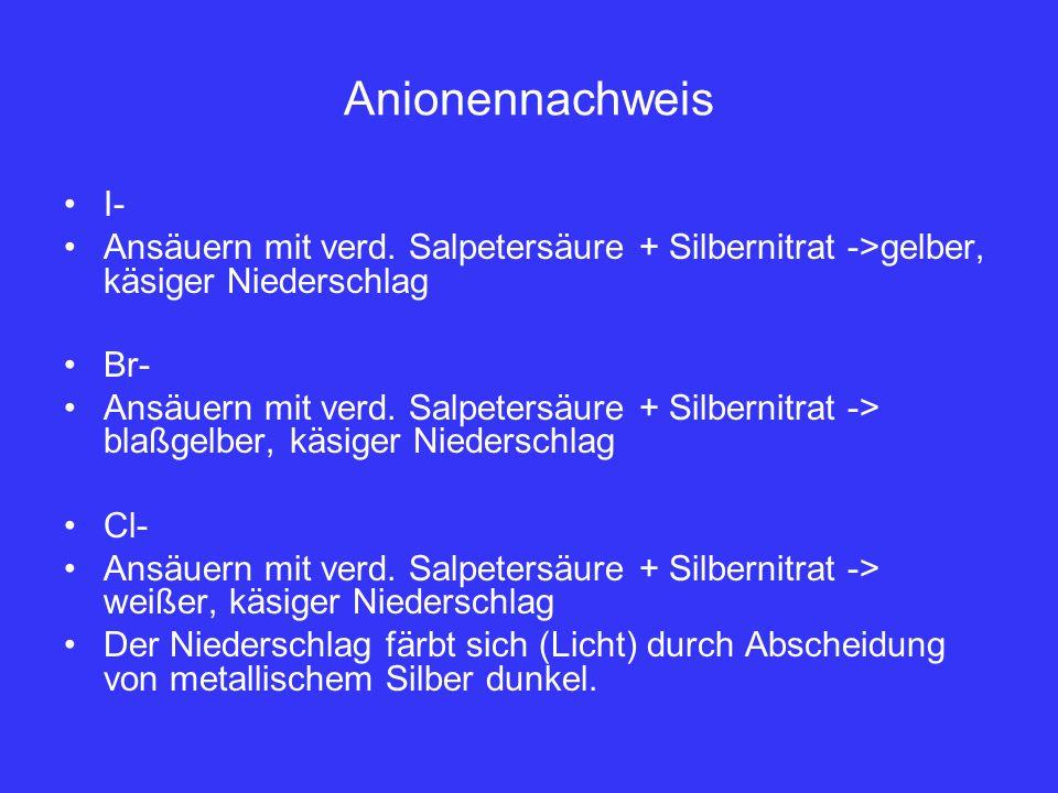 Anionennachweis I- Ansäuern mit verd. Salpetersäure + Silbernitrat ->gelber, käsiger Niederschlag Br- Ansäuern mit verd. Salpetersäure + Silbernitrat