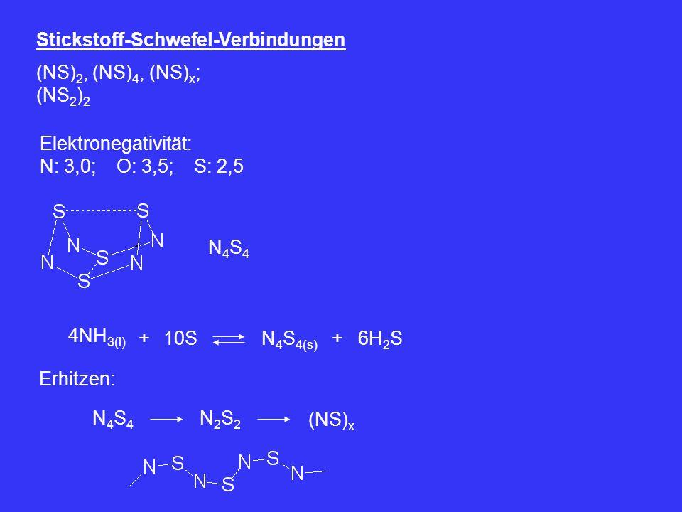 Stickstoff-Schwefel-Verbindungen (NS) 2, (NS) 4, (NS) x ; (NS 2 ) 2 Elektronegativität: N: 3,0; O: 3,5; S: 2,5 N4S4N4S4 4NH 3(l) 10S+N 4 S 4(s) +6H 2