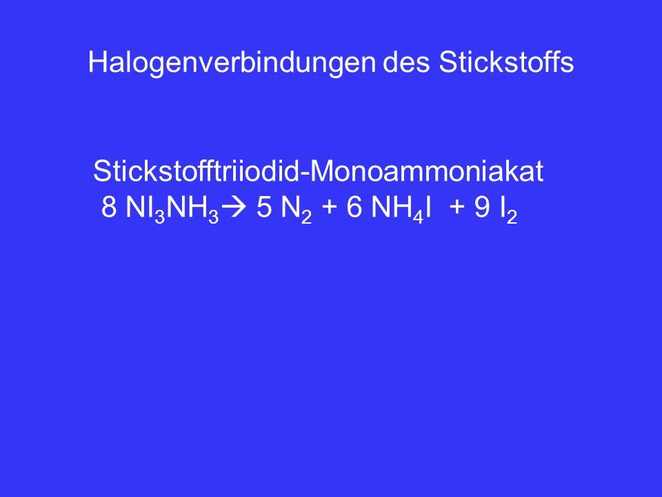 Halogenverbindungen des Stickstoffs Stickstofftriiodid-Monoammoniakat 8 NI 3 NH 3  5 N 2 + 6 NH 4 I + 9 I 2