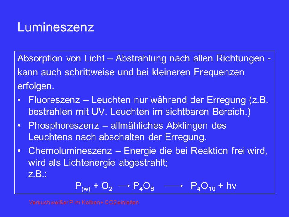 Lumineszenz Absorption von Licht – Abstrahlung nach allen Richtungen - kann auch schrittweise und bei kleineren Frequenzen erfolgen. Fluoreszenz – Leu