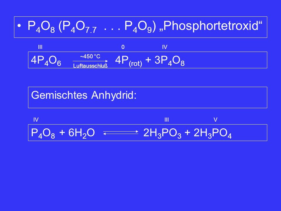 "Luftausschluß P 4 O 8 (P 4 O 7.7... P 4 O 9 ) ""Phosphortetroxid"" 4P 4 O 6 4P (rot) + 3P 4 O 8 IIIIV 0 ~450 °C Gemischtes Anhydrid: P 4 O 8 + 6H 2 O 2H"