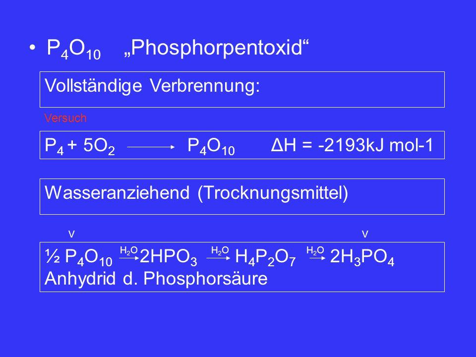 """P 4 O 10 """"Phosphorpentoxid"""" Vollständige Verbrennung: P 4 + 5O 2 P 4 O 10 ΔH = -2193kJ mol-1 Wasseranziehend (Trocknungsmittel) ½ P 4 O 10 2HPO 3 H 4"""