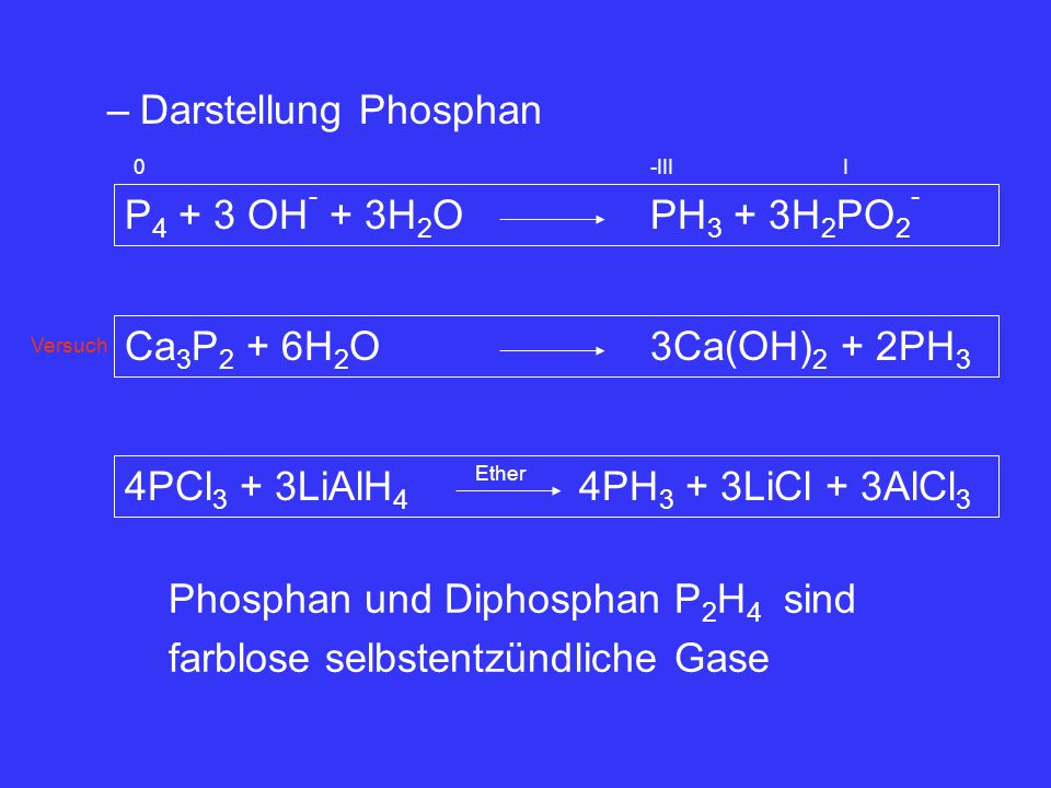 –Darstellung Phosphan P 4 + 3 OH - + 3H 2 OPH 3 + 3H 2 PO 2 - 0-IIII Ca 3 P 2 + 6H 2 O3Ca(OH) 2 + 2PH 3 4PCl 3 + 3LiAlH 4 4PH 3 + 3LiCl + 3AlCl 3 Ethe