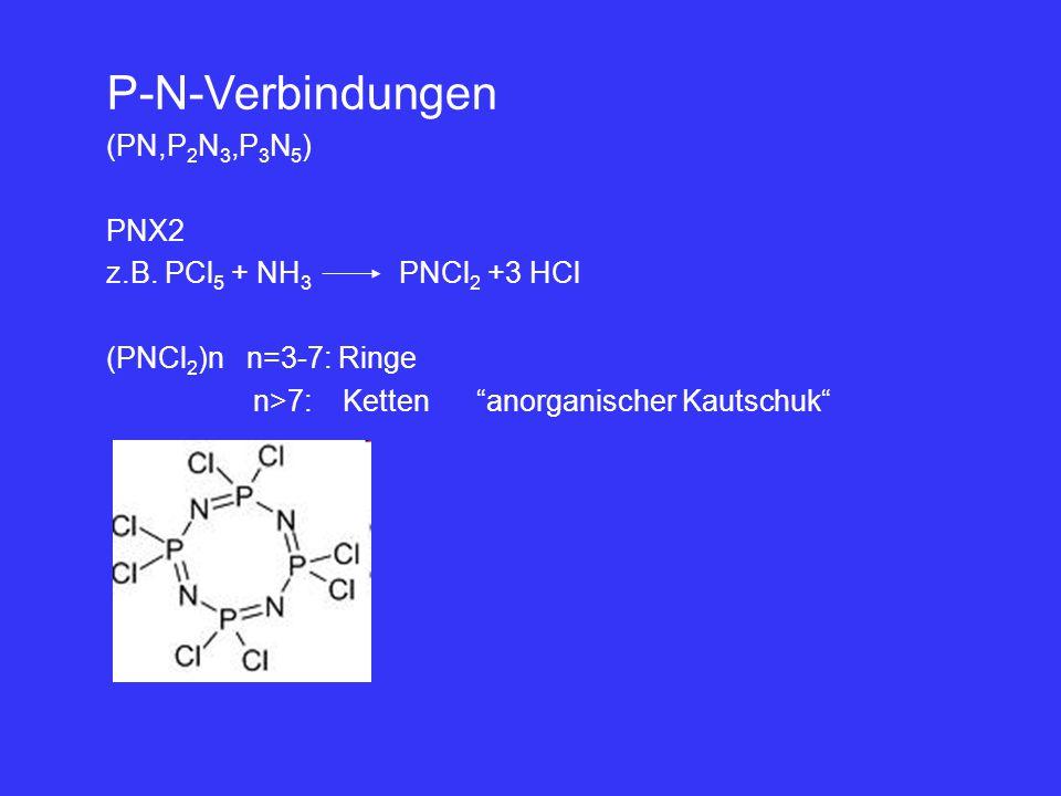 "P-N-Verbindungen (PN,P 2 N 3,P 3 N 5 ) PNX2 z.B. PCl 5 + NH 3 PNCl 2 +3 HCl (PNCl 2 )n n=3-7: Ringe n>7: Ketten ""anorganischer Kautschuk"""